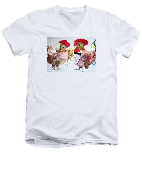 Men's V-Neck T-Shirt featuring the painting Calling All Chicken Lovers Say I Do by Eloise Schneider