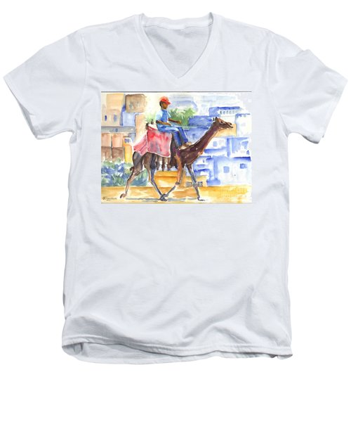 Men's V-Neck T-Shirt featuring the painting Camel Driver by Carol Wisniewski