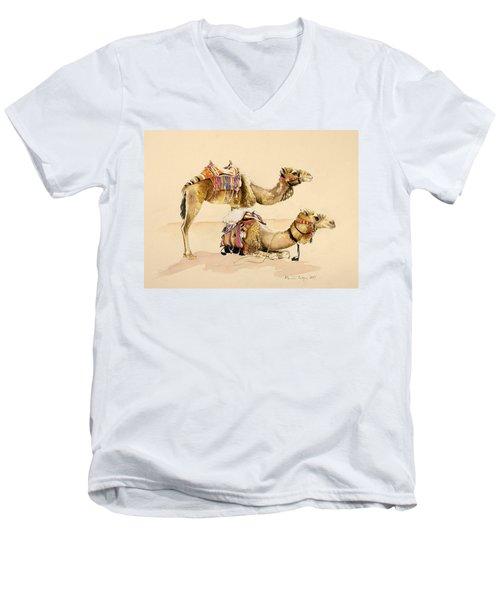 Camels From Petra Men's V-Neck T-Shirt