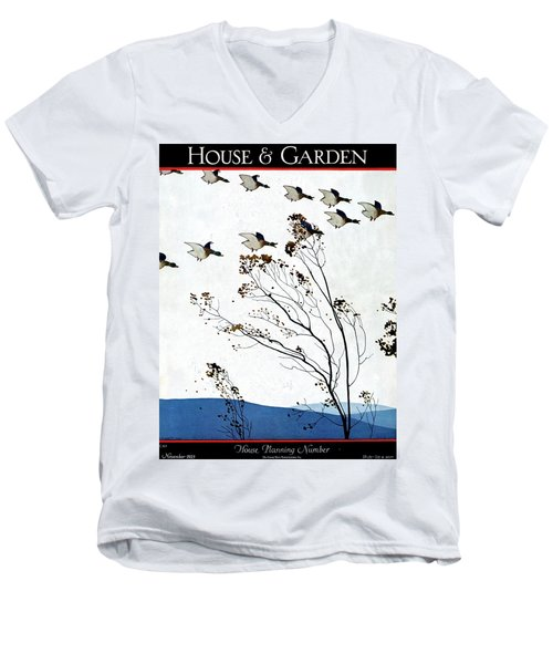 Canadian Geese Over Brown-leafed Trees Men's V-Neck T-Shirt
