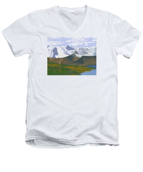 Canadian Rockies Men's V-Neck T-Shirt by Terry Frederick