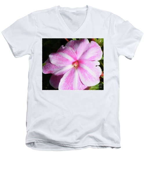 Men's V-Neck T-Shirt featuring the photograph Candy Cane Impatiens by Barbara Griffin