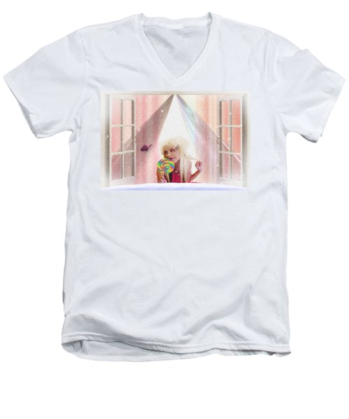 Men's V-Neck T-Shirt featuring the digital art Candy Kisses by Liane Wright