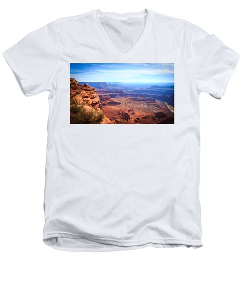 Men's V-Neck T-Shirt featuring the photograph Canyonlands - A Landscape To Get Lost In by Peta Thames