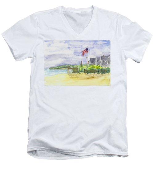 Massachusetts -cape Cod Cottages Men's V-Neck T-Shirt by Christine Lathrop