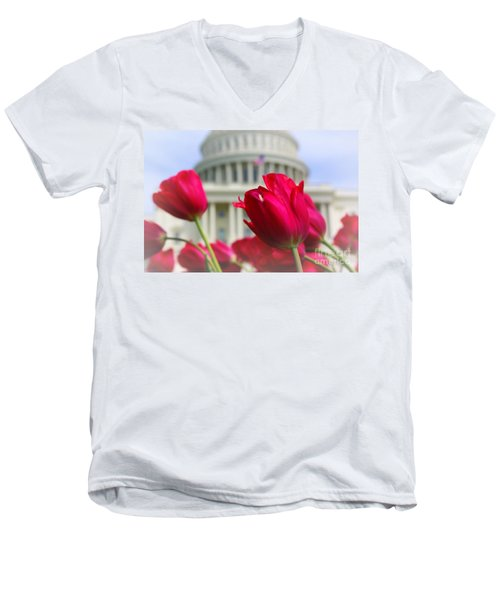Men's V-Neck T-Shirt featuring the photograph Capital Flowers  by John S