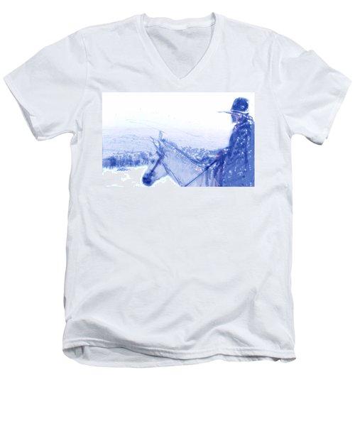 Capt. Call In A Snow Storm Men's V-Neck T-Shirt