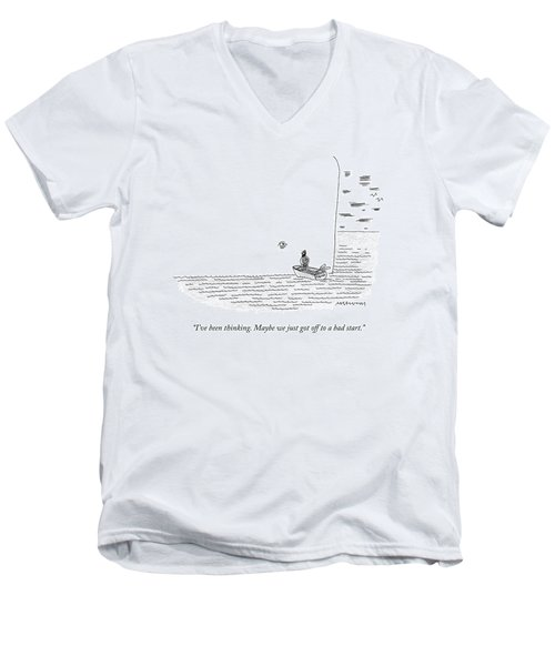 Captain Ahab Rows A Small Boat Right Up To Moby Men's V-Neck T-Shirt
