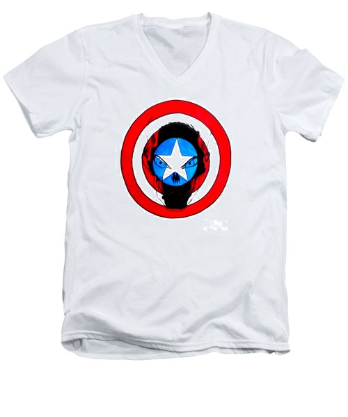 Men's V-Neck T-Shirt featuring the drawing Captain America And Red Skull by Justin Moore