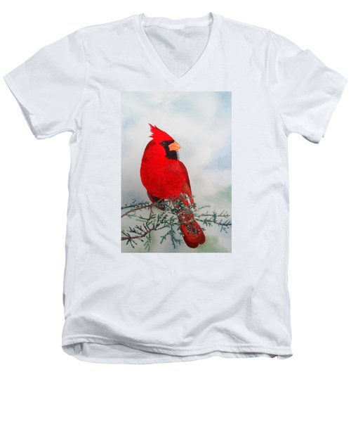 Men's V-Neck T-Shirt featuring the painting Cardinal by Laurel Best