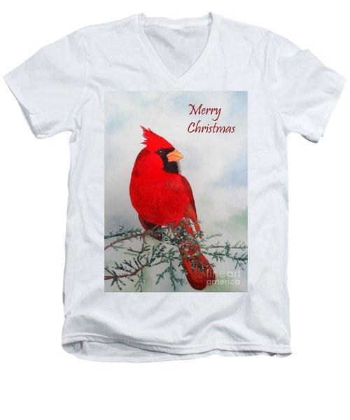 Cardinal Merry Christmas Men's V-Neck T-Shirt