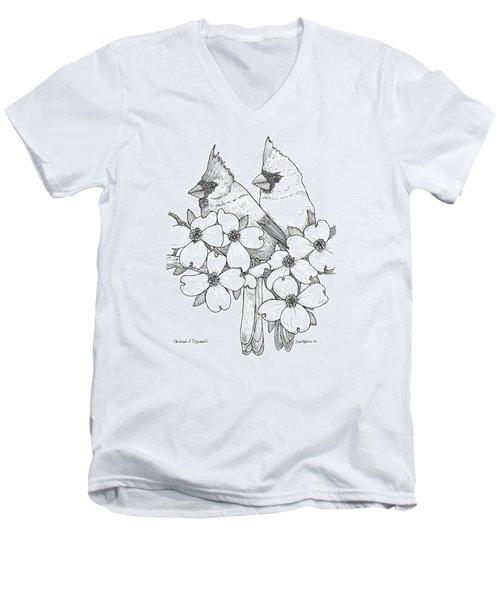 Cardinals And Dogwoods Men's V-Neck T-Shirt