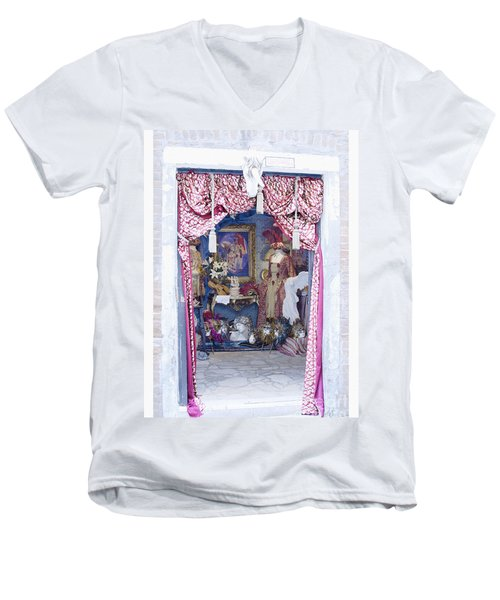 Men's V-Neck T-Shirt featuring the digital art Carnevale Shop In Venice Italy by Victoria Harrington
