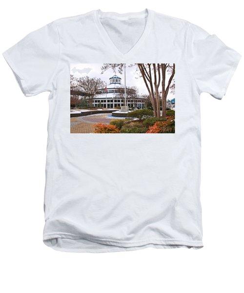 Carousel Building In Snow Men's V-Neck T-Shirt