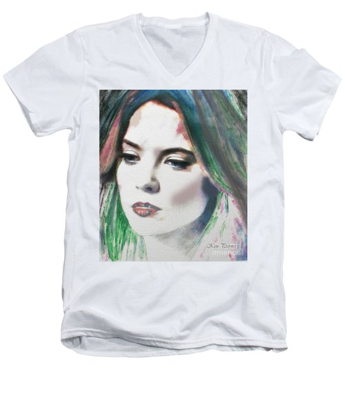 Men's V-Neck T-Shirt featuring the digital art Carrie  by Kim Prowse