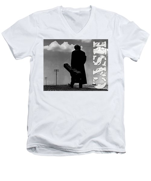 Men's V-Neck T-Shirt featuring the mixed media Johnny Cash by Marvin Blaine