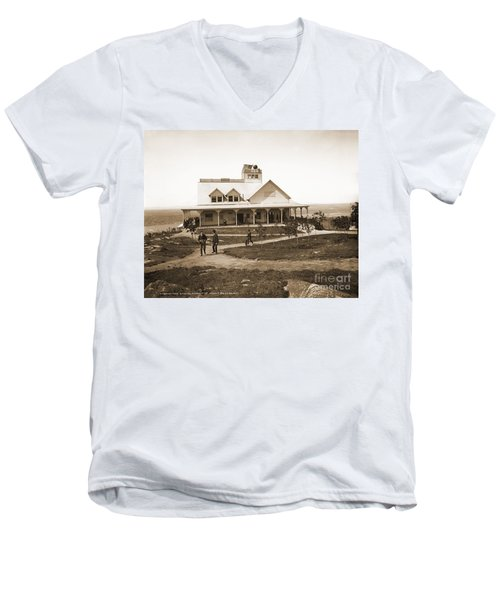 Casino At The Top Of Mt Beacon In Black And White Men's V-Neck T-Shirt