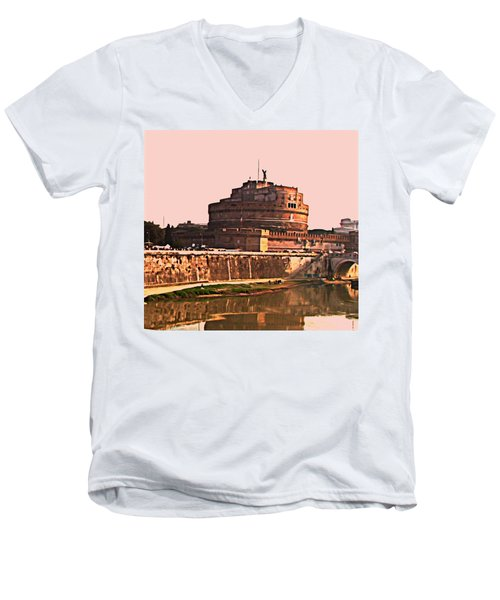 Men's V-Neck T-Shirt featuring the photograph Castel Sant 'angelo by Brian Reaves
