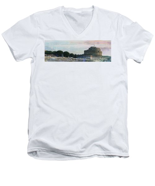 Men's V-Neck T-Shirt featuring the painting Castel Sant'angelo     by Brian Reaves