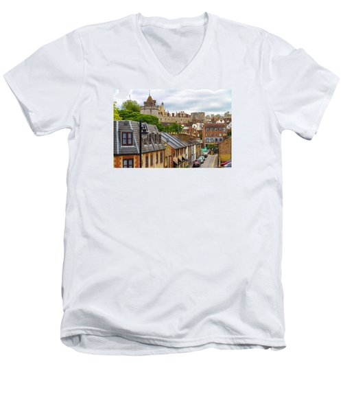 Castle Above The Town Men's V-Neck T-Shirt by Tim Stanley