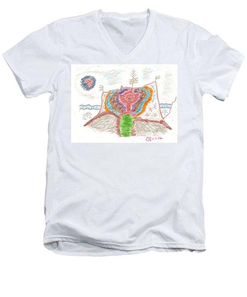 Castle Rose Men's V-Neck T-Shirt by Mark David Gerson