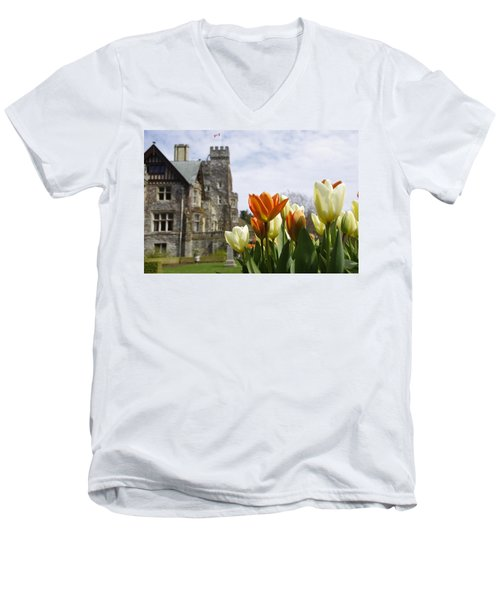 Castle Tulips Men's V-Neck T-Shirt by Marilyn Wilson