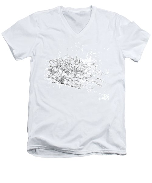 Men's V-Neck T-Shirt featuring the drawing Castletown Coastal Houses by Paul Davenport