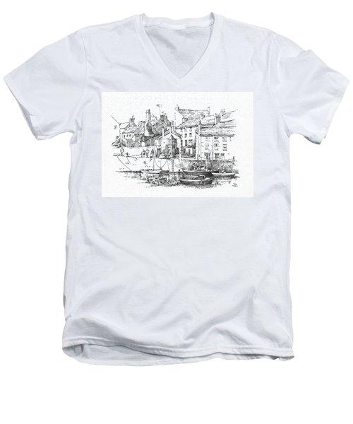 Men's V-Neck T-Shirt featuring the drawing Castletown Harbour by Paul Davenport