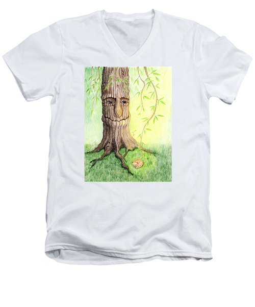 Men's V-Neck T-Shirt featuring the drawing Cat And Great Mother Tree by Keiko Katsuta