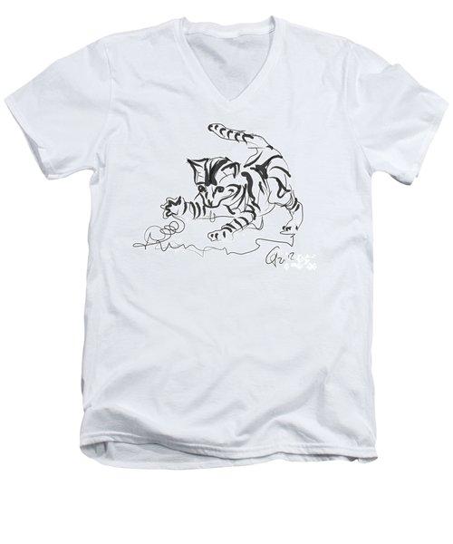 Cat- Cute Kitty  Men's V-Neck T-Shirt by Go Van Kampen
