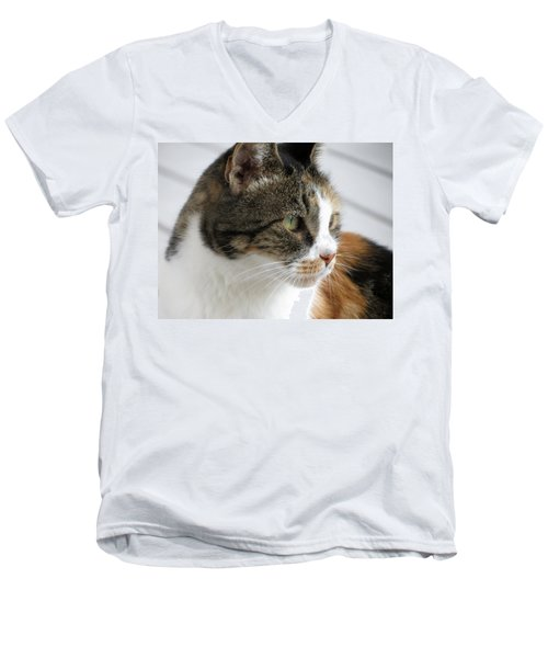 Men's V-Neck T-Shirt featuring the photograph Cat by Laurel Powell