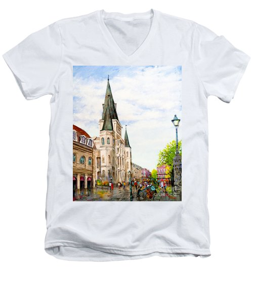 Cathedral Plaza - Jackson Square, French Quarter Men's V-Neck T-Shirt