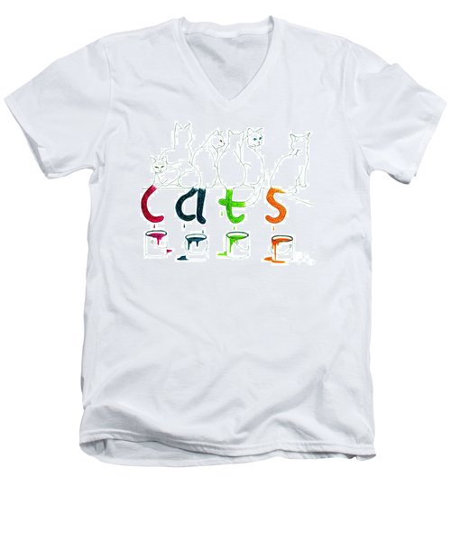 Cats With Paint Cans Men's V-Neck T-Shirt by Patricia Overmoyer