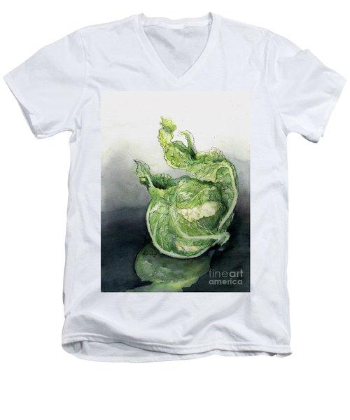 Cauliflower In Reflection Men's V-Neck T-Shirt by Maria Hunt