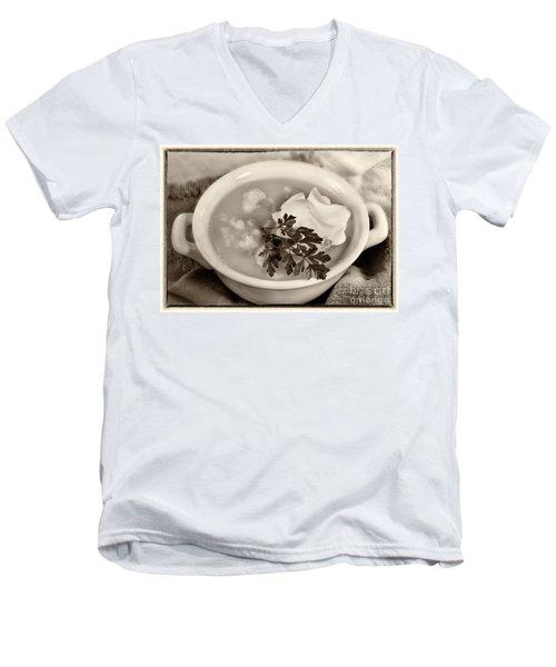 Cauliflower Soup Sepia Tone Men's V-Neck T-Shirt by Iris Richardson