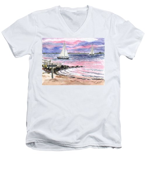 Cedar Beach Pinks Men's V-Neck T-Shirt