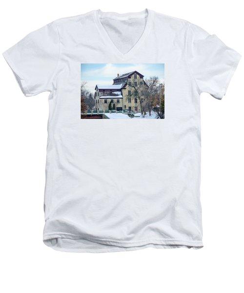 Cedarburg Mill Men's V-Neck T-Shirt by Susan  McMenamin