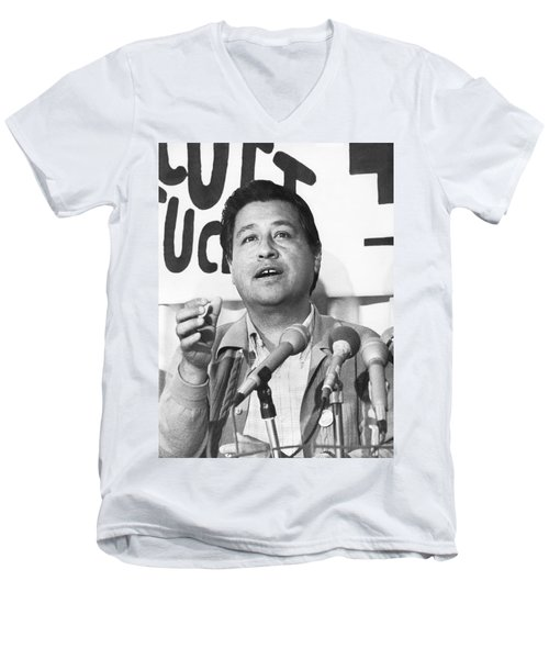 Cesar Chavez Announces Boycott Men's V-Neck T-Shirt by Underwood Archives