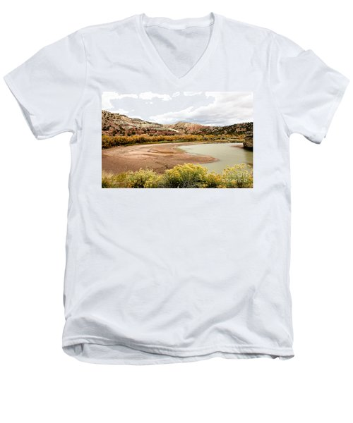 Men's V-Neck T-Shirt featuring the photograph Chama River Swim Spot by Roselynne Broussard