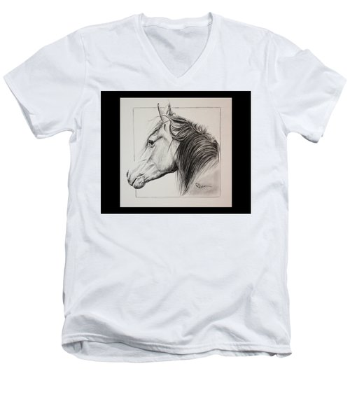 Men's V-Neck T-Shirt featuring the drawing Champion by Rachel Hames
