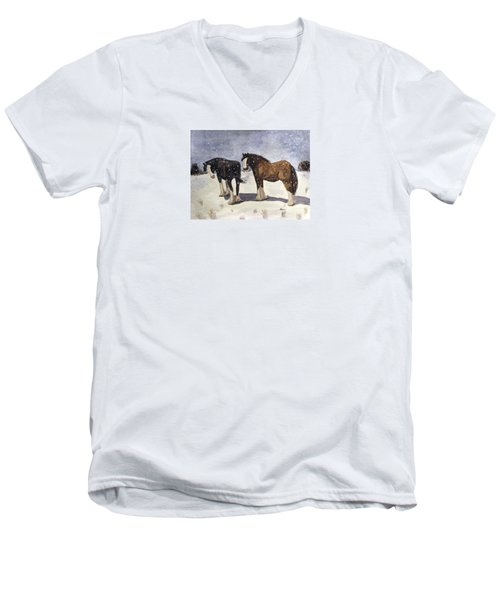 Men's V-Neck T-Shirt featuring the painting Chance Of Flurries by Angela Davies