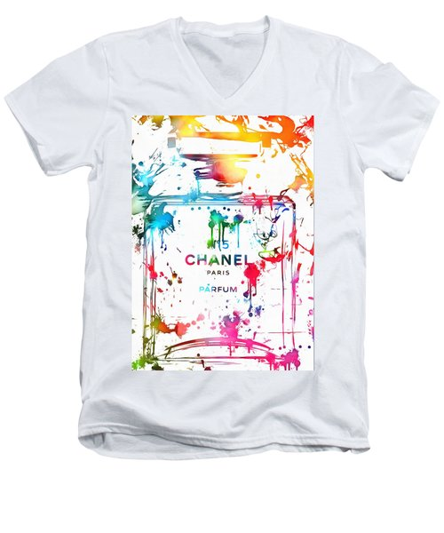 Chanel Number Five Paint Splatter Men's V-Neck T-Shirt by Dan Sproul