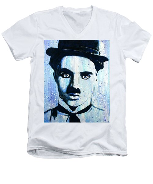 Charlie Chaplin Little Tramp Portrait Men's V-Neck T-Shirt by Bob Baker