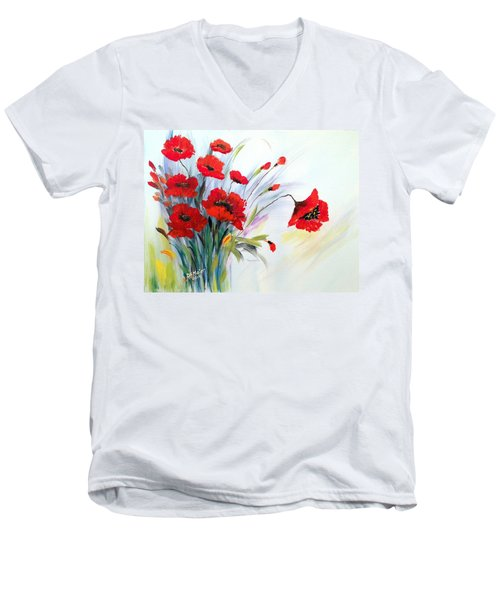 Men's V-Neck T-Shirt featuring the painting Charming by Dorothy Maier