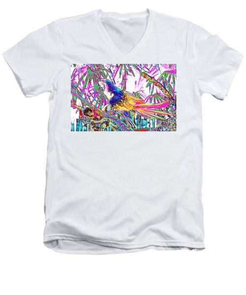 Cheerful Parrot. Colorful Art Collection. Promotion - August 2015 Men's V-Neck T-Shirt