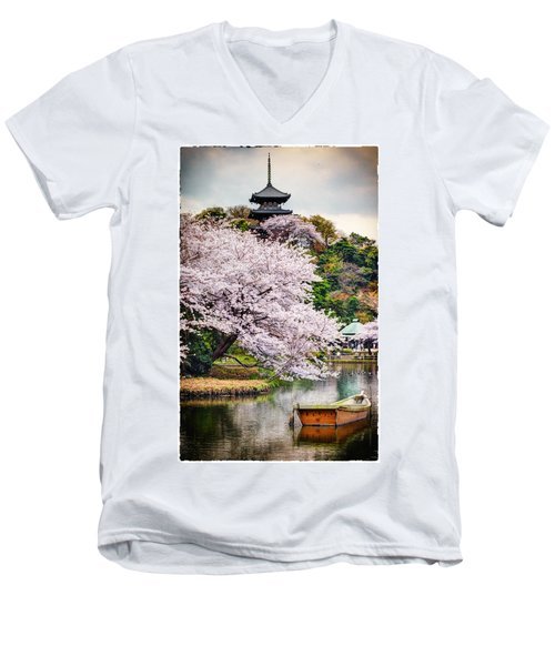 Cherry Blossom 2014 Men's V-Neck T-Shirt by John Swartz