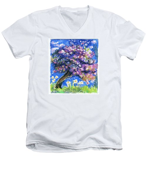 Cherry Blossom Spring. Men's V-Neck T-Shirt