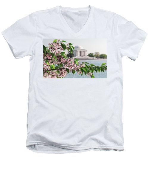 Men's V-Neck T-Shirt featuring the photograph Cherry Blossoms And The Jefferson Memorial 2 by Mitchell R Grosky