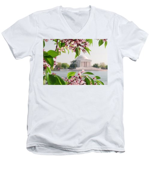 Men's V-Neck T-Shirt featuring the photograph Cherry Blossoms And The Jefferson Memorial by Mitchell R Grosky