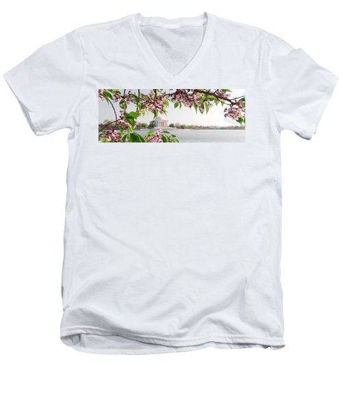 Men's V-Neck T-Shirt featuring the photograph Cherry Blossoms And The Jefferson Memorial Panorama by Mitchell R Grosky